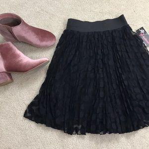 NWT Black Polka Dot Pleated Skirt
